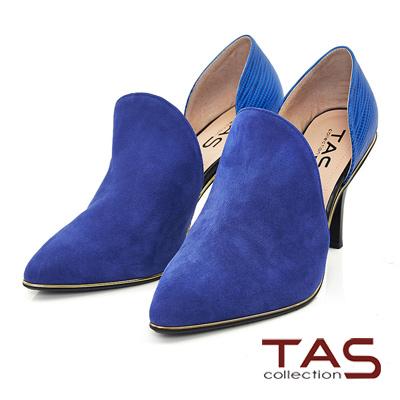 TAS-鏤空前包式異材質尖頭高跟鞋-注目藍