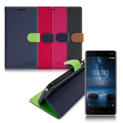 台灣製造 FOCUS Nokia 8 糖果繽紛支架側翻皮套