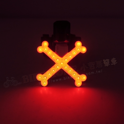 BIKEGUY COB 紅光LED警示燈2段模式造型後燈-X型骷髏