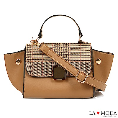 La Moda 設計師Look千鳥紋手提肩背斜背小包水餃包(深米)