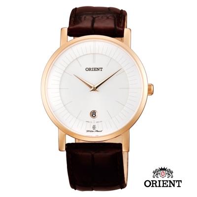 ORIENT 東方錶 超薄簡約優雅阿拉伯數字藍寶石鏡面石英錶-玫瑰金/38mm
