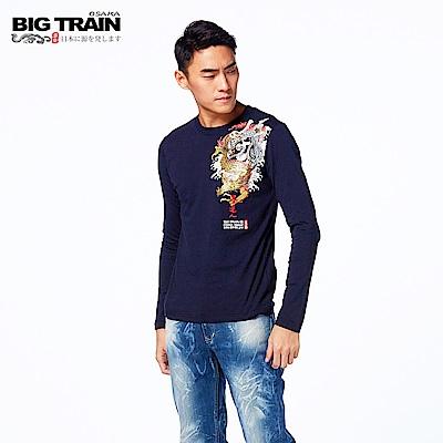 BIG TRAIN 祥雲家徽小直筒褲-男-淺藍