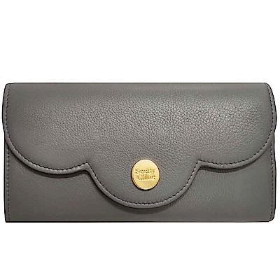 SEE BY CHLOE 經典金色LOGO品牌造型釦式長夾(灰色)