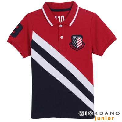 GIORDANO-童裝美國國旗萊卡POLO衫-27
