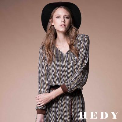 Hedy赫蒂 皮繩印花雪紡鬆緊洋裝(共兩色)