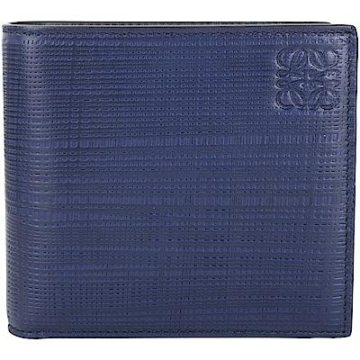LOEWE Anagram 編織壓紋小牛皮對折短夾(海軍藍)