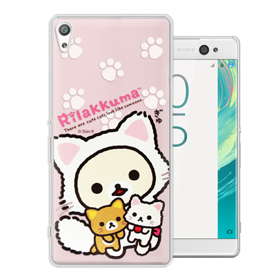 日本授權正版 拉拉熊 SONY Xperia XA Ultra 變裝彩繪手機殼(貓咪粉)