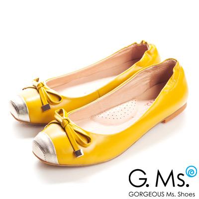 【G.Ms.】經典Dolly‧金屬拼接方頭蝴蝶結全平底娃娃鞋‧活力黃