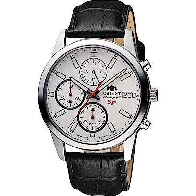 ORIENT東方 SP 尖鋒時刻計時手錶FKU00006W-白x黑/41mm