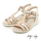 eq:iq--T字條帶楔型涼鞋-清新粉膚