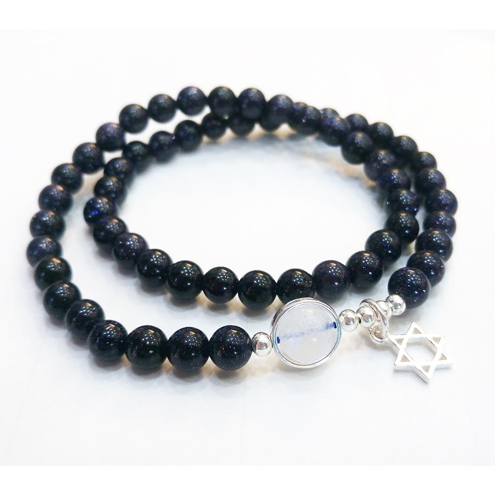 Hera 赫拉 925純銀天然月光藍砂石星星情侶閨蜜手鍊-4款