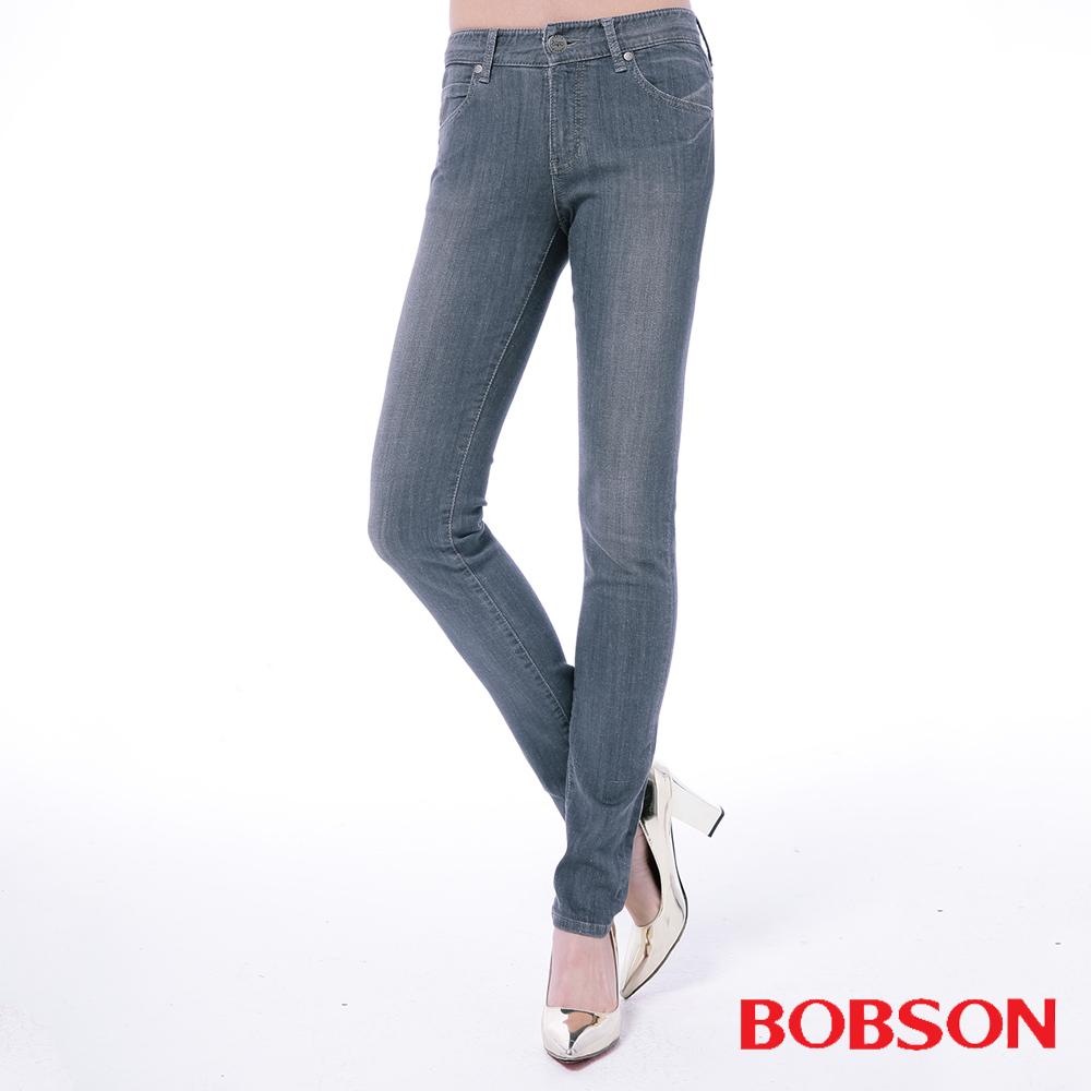 BOBSON 女款低腰膠原蛋白小直筒褲-灰色