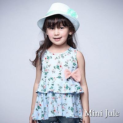 Mini Jule 童裝-上衣 碎花側蝴蝶結層次傘擺後釦背心(水藍)