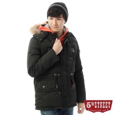 5th STREET外套多口袋造型長版羽絨外套-男-黑色