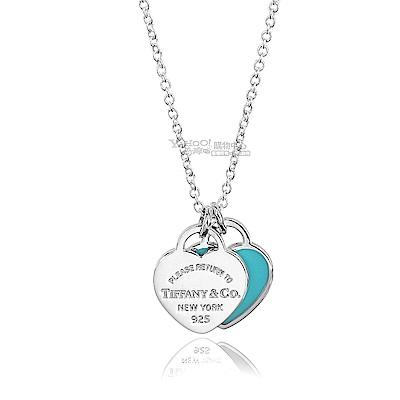 Tiffany&Co. 雙心墜飾925純銀粉藍琺瑯項鍊