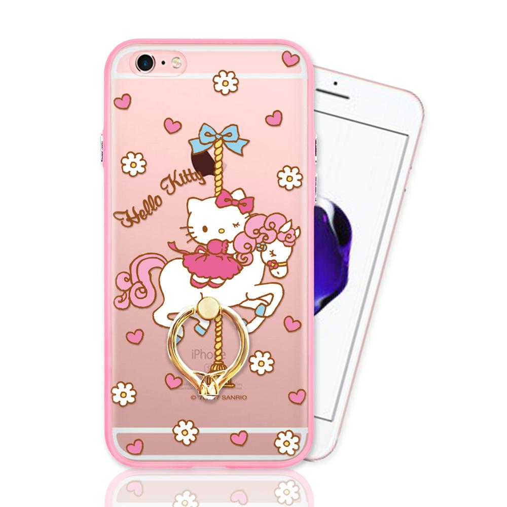 iPhone 6 plus正版授權 Hello Kitty凱蒂貓指環扣支架手機殼-木馬款