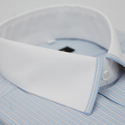 金‧安德森 藍黃條紋白領短袖襯衫