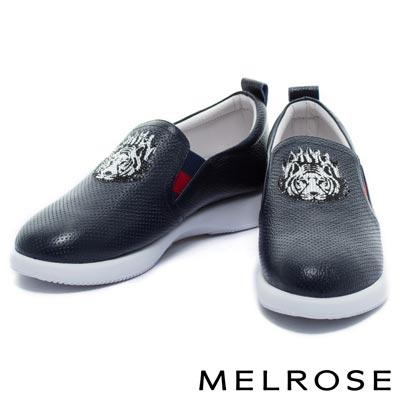 休閒鞋-MELROSE-老虎造型燙鑽飾片全真皮厚底休閒鞋-藍