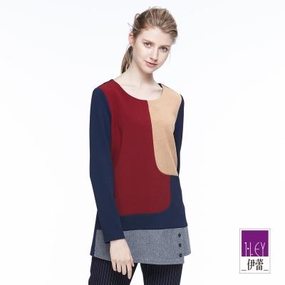 ILEY伊蕾 幾何配色拼接上衣體驗價商品(藍)
