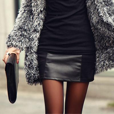正韓 率性異材質皮革mix窄短裙 (黑色)-N.C21
