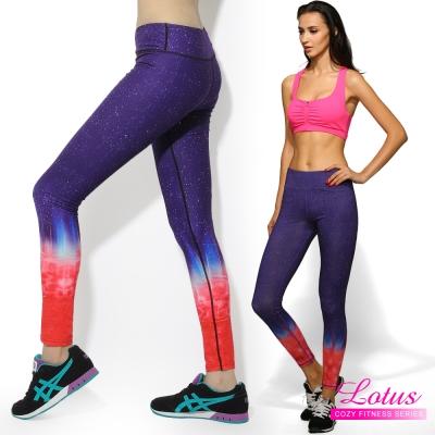 運動褲 彈力排汗極光星空健身運動瑜珈褲-赤焰紅(M-XL) LOTUS