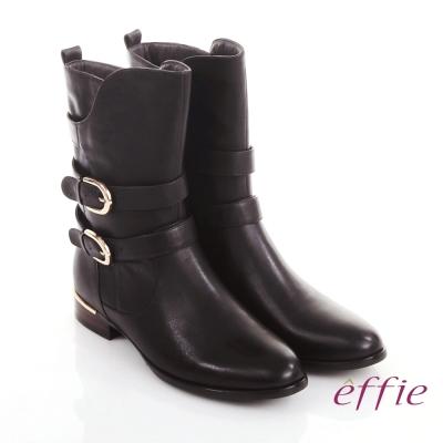 effie 保暖靴 真皮弧線靴口飾釦奈米中長靴 咖啡