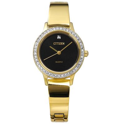 CITIZEN 名媛晶鑽礦石強化玻璃不鏽鋼手錶-黑x鍍金/23mm