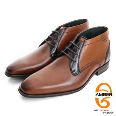 Amber-紳士品味 雙色拼接綁帶皮鞋(男)-咖色