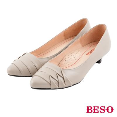 BESO 氣質優雅 知性簡約設計全真皮跟鞋~灰
