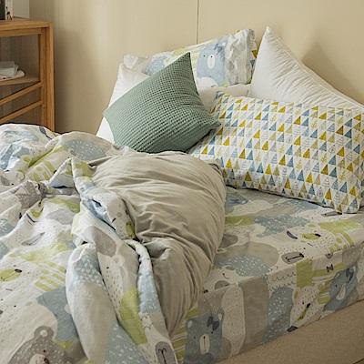 翔仔居家  加大-100%純棉x水晶絨 鋪棉兩用被套床包四件組 熊森森