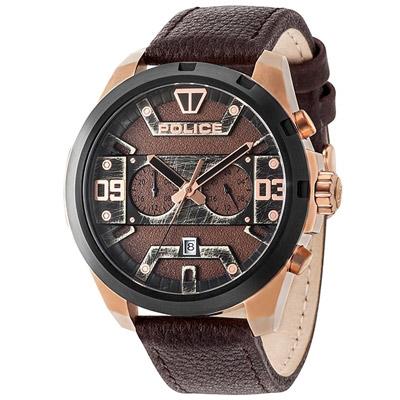 POLICE 復古仿舊雙時區時尚皮革手錶-咖啡X黑框/50mm