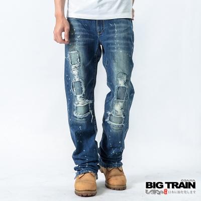 BIG TRAIN-低腰和風割破垮褲-中藍