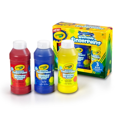 美國crayola 可水洗手指畫顏料3色236ml(紅黃藍)3Y+