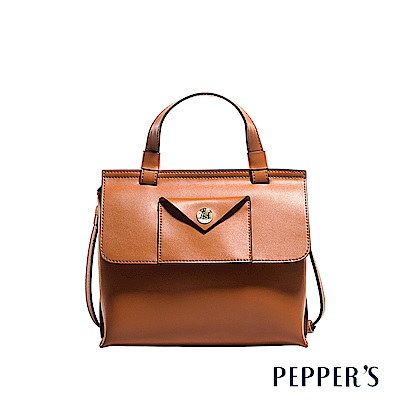 PEPPER`S Aurora 牛皮斜背包 - 焦糖棕