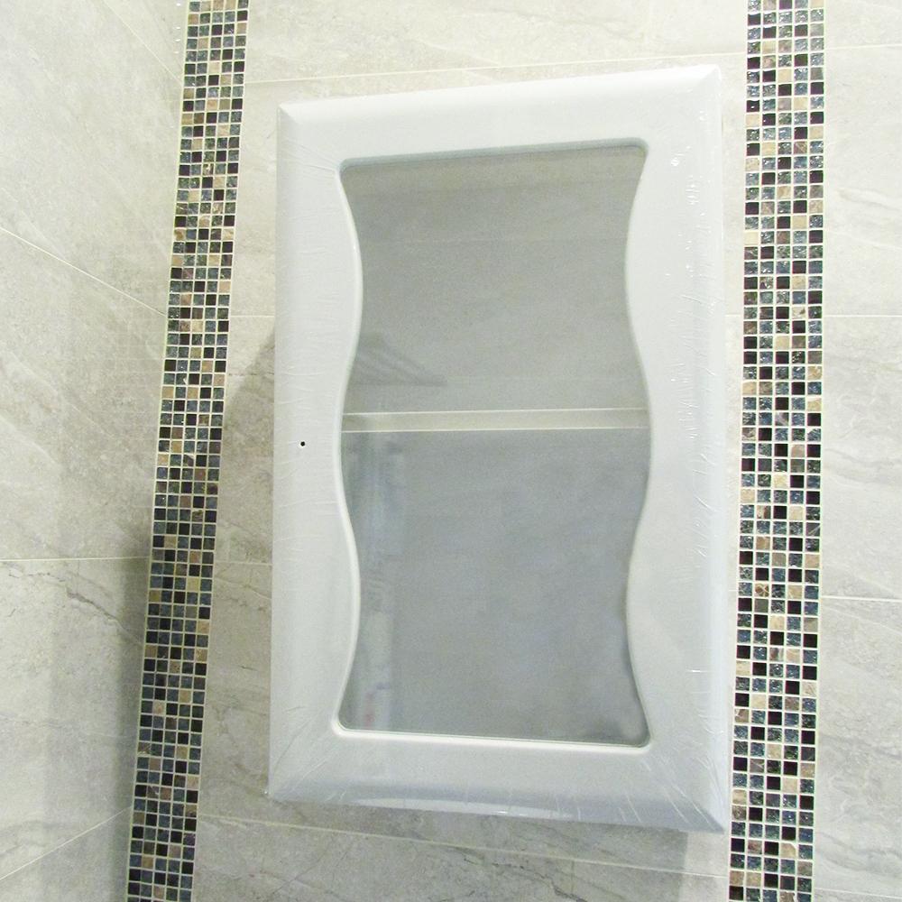 Amos波浪單門防水塑鋼浴櫃-櫥櫃白色(W40*D25*H65 cm)