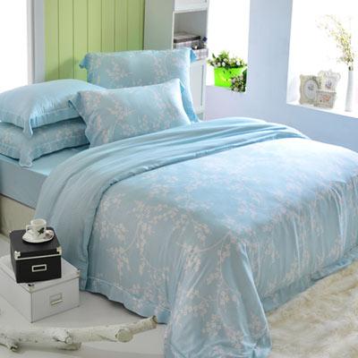 英國Abelia 淡雅花語-藍 加大木漿纖維八件式兩用被床罩組