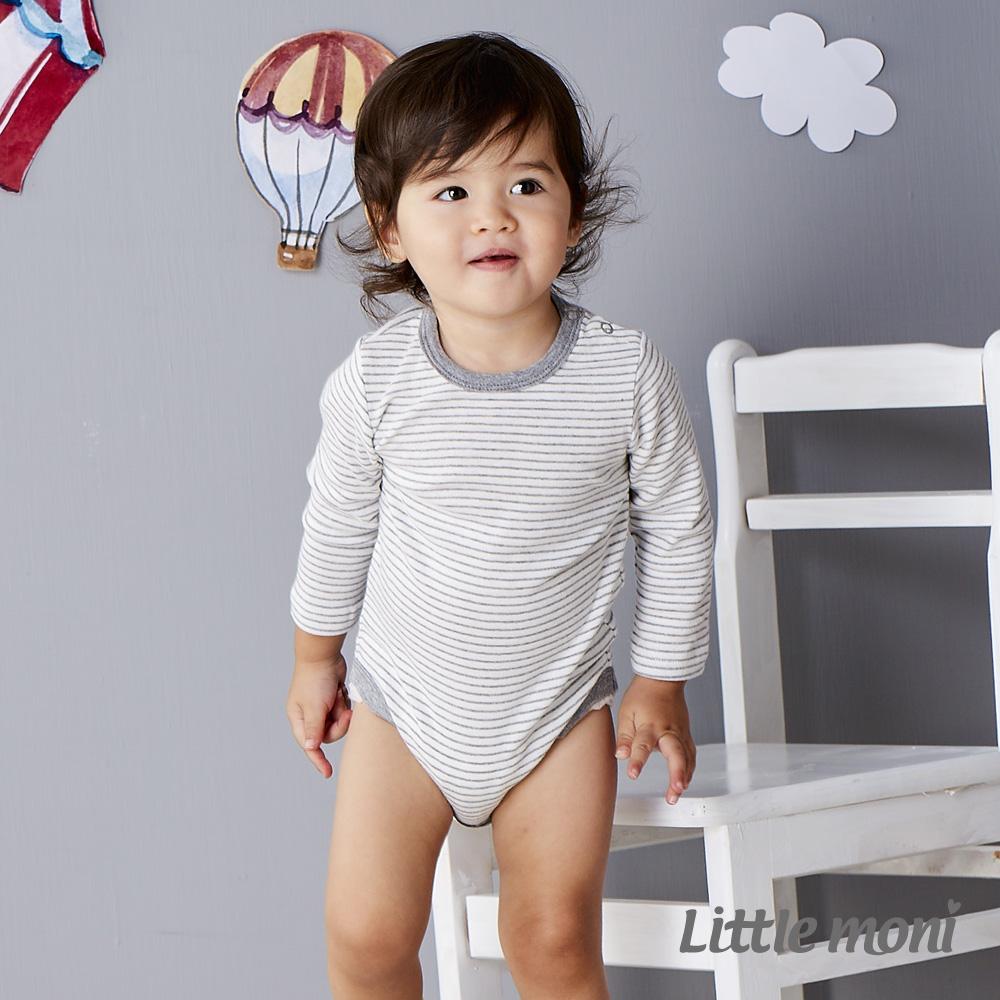 Little moni 純棉家居系列條紋長袖包屁衣 灰色