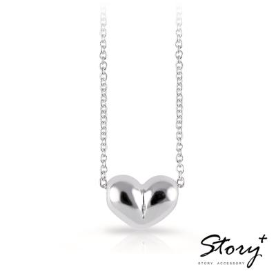 STORY故事銀飾-溫暖的心-純銀項鍊(白K金)