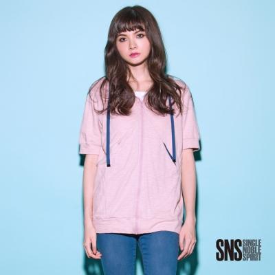 SNS 柔軟台灣棉撞色連帽短袖外套(2色)