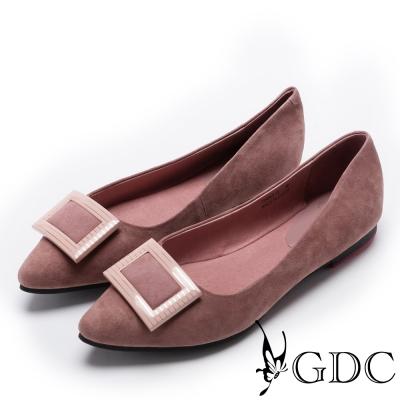 GDC-優雅羊絨斜紋方釦肩頭平底鞋-粉色
