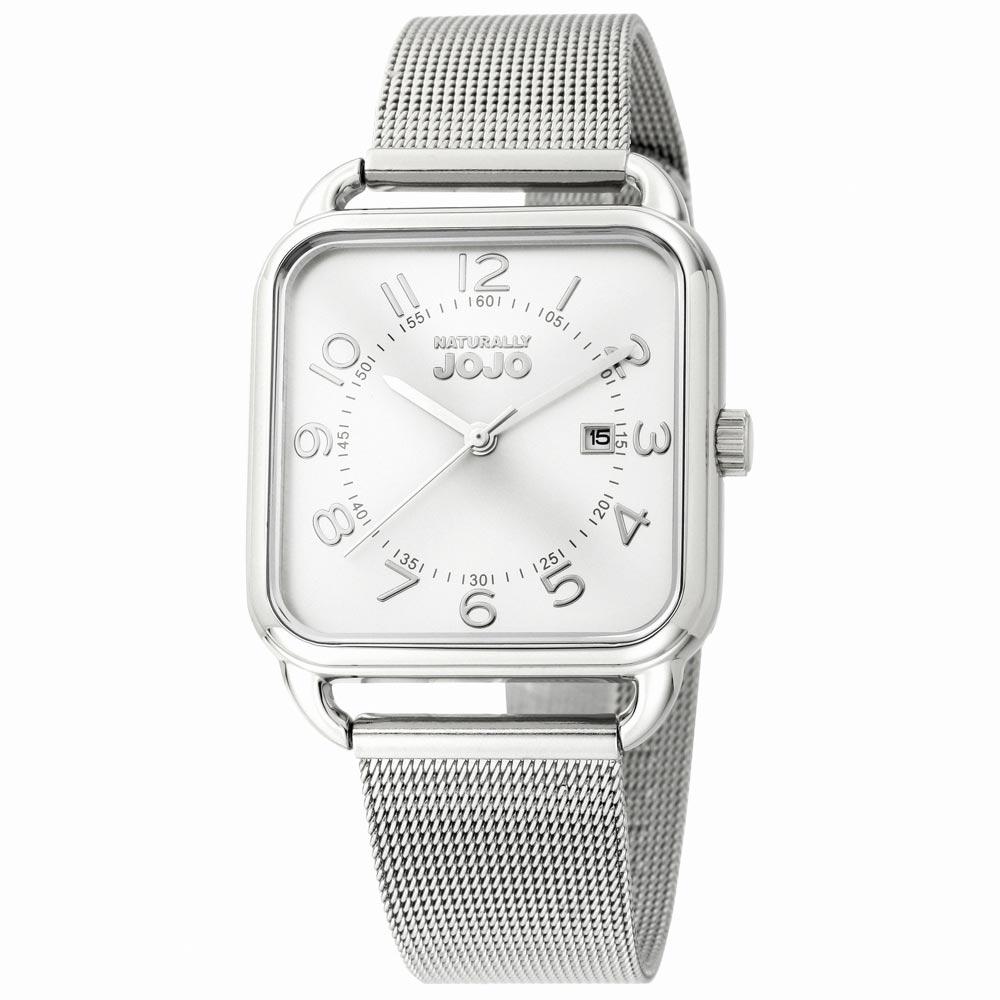 NATURALLY JOJO 數日子美好時光方型復刻米蘭帶錶-銀/32mm
