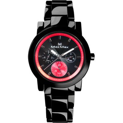 Max Max 晶燦彩芯三眼全日曆陶瓷腕錶-黑x紅/38mm