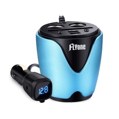 FLYone HC-30 電壓檢測 擴充雙孔+雙USB +卡槽 車用充電能量杯- 急速配