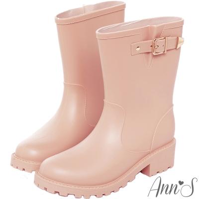 Ann'S雨天心情-時尚金扣帶中筒雨靴-粉杏