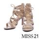 高跟鞋-MISS-21-復古羅馬繫帶異材質拼接細跟