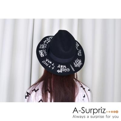 A-Surpriz 韓風塗鴉寬版毛呢爵士帽(五色選)
