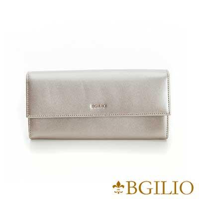 義大利BGilio-NAPPA軟牛皮金屬色系氣質釦式長夾-金屬香檳1969.324A-16