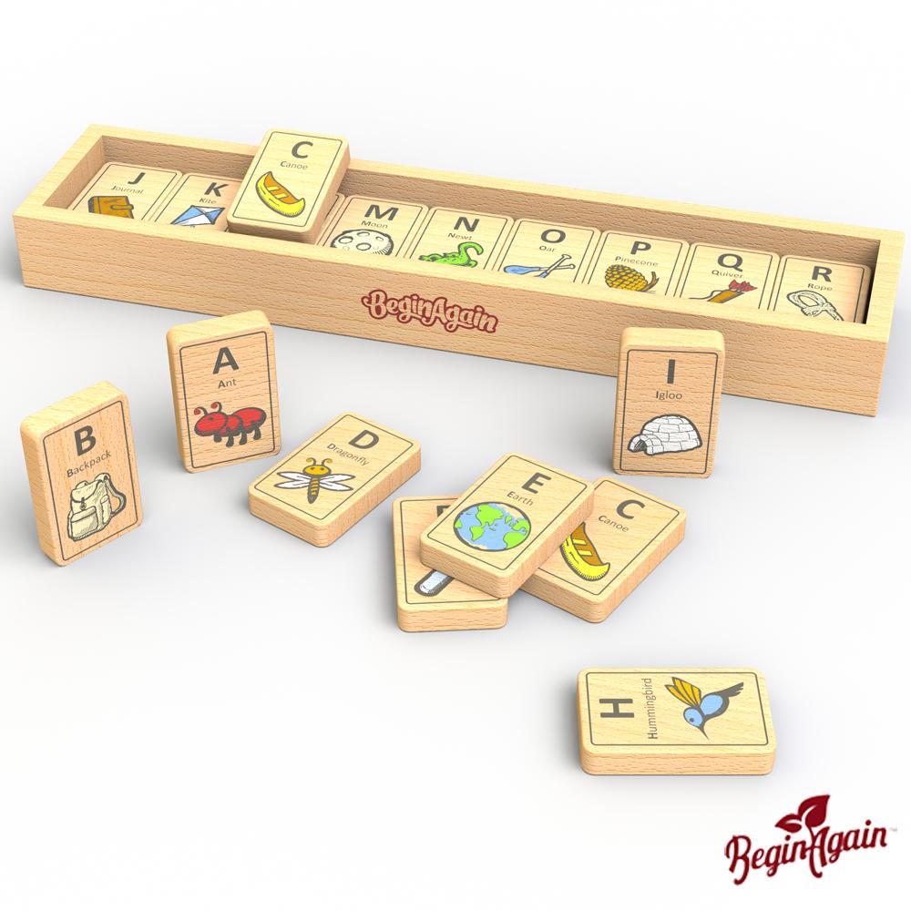美國 Begin Again 純木質益智玩具 (探險ABC骨牌組)