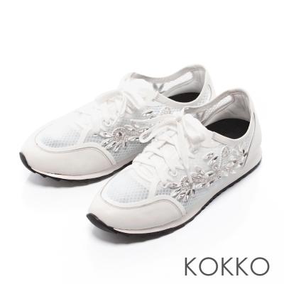 KOKKO-輕奢感透氣幾何水鑽綁帶休閒鞋-白