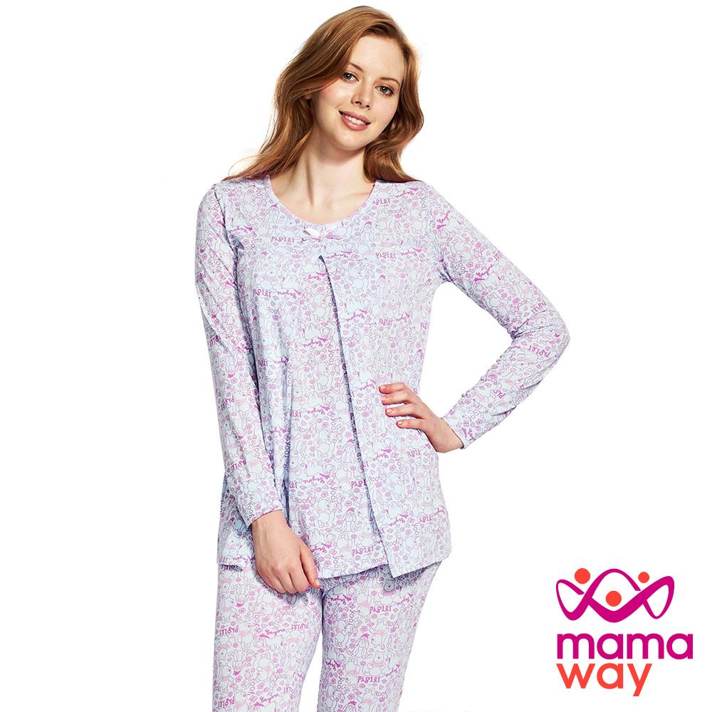 Mamaway 迪士尼小熊維尼孕哺居家服組(長袖+長褲)